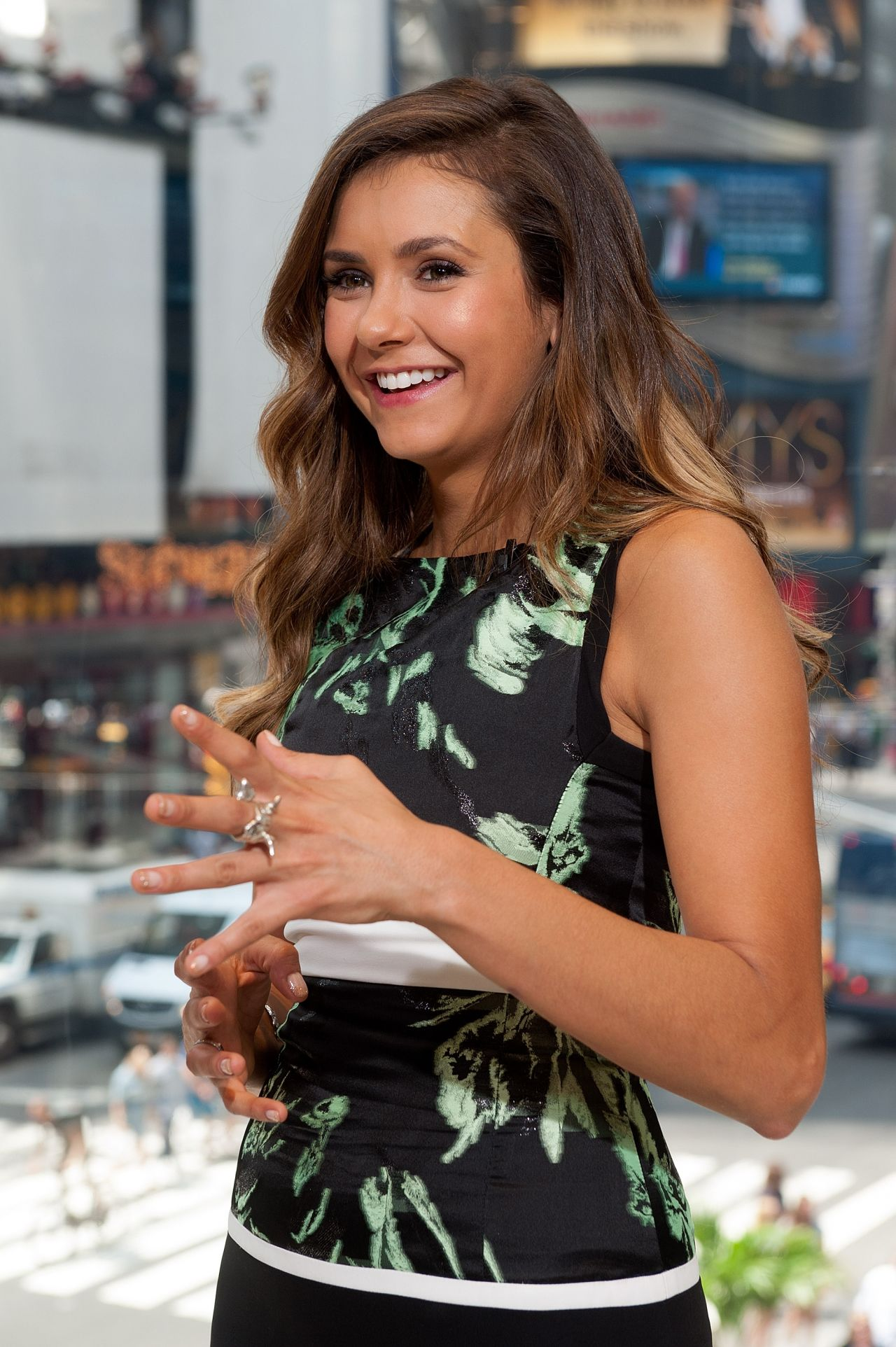 Nina Dobrev on the Set of