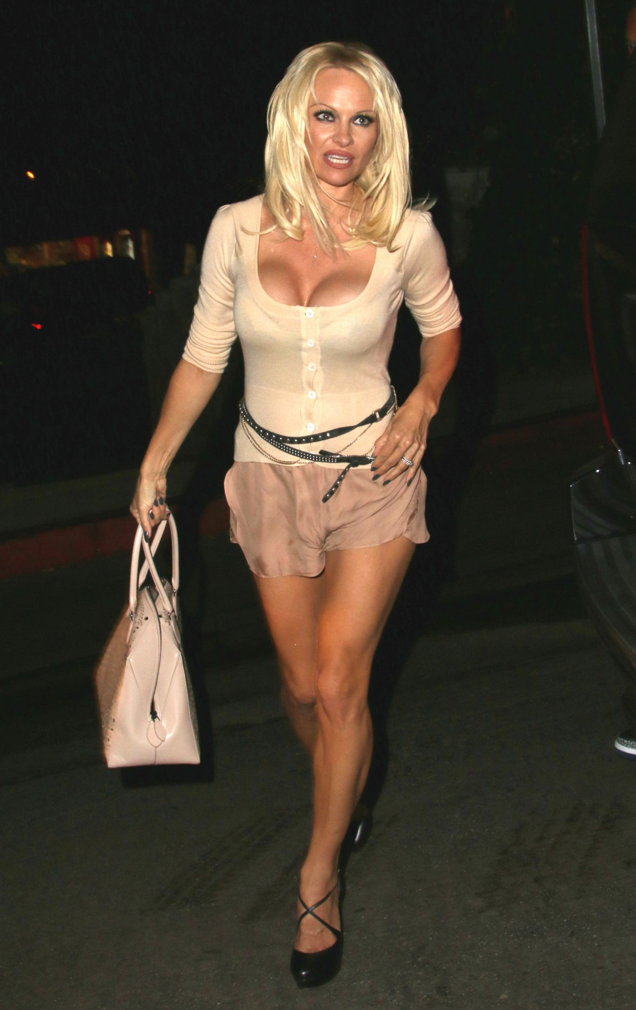Pamela Anderson Night Out Style Leaving Chateau Marmont