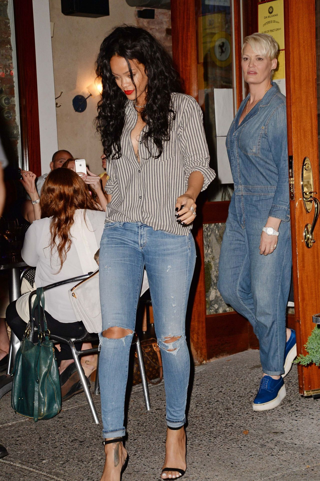 Rihanna In Ripped Jeans Arriving At Da Silvano Restaurant In New York City August 2014