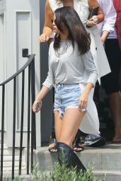 Selena Gomez in Cutoffs and Boots at Gracias Madre in West Hollywood - August 2014