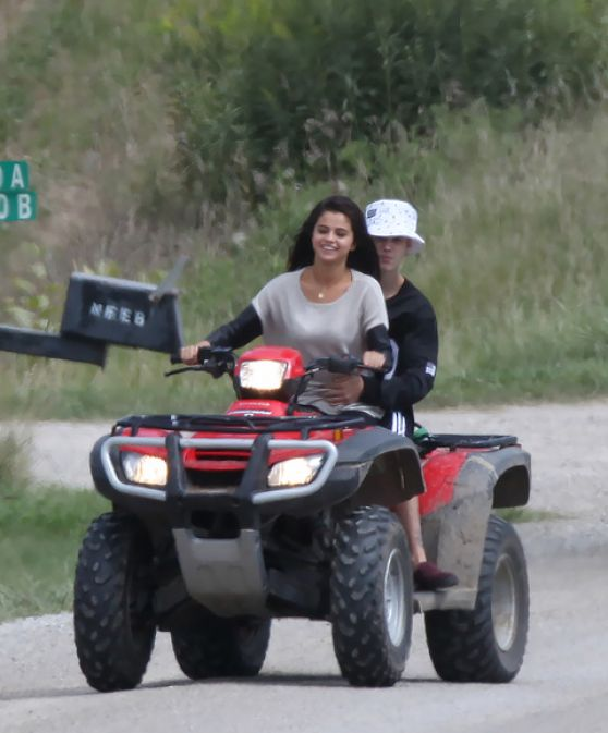 Selena Gomez - Riding a ATV With Justin Bieber in Toronto