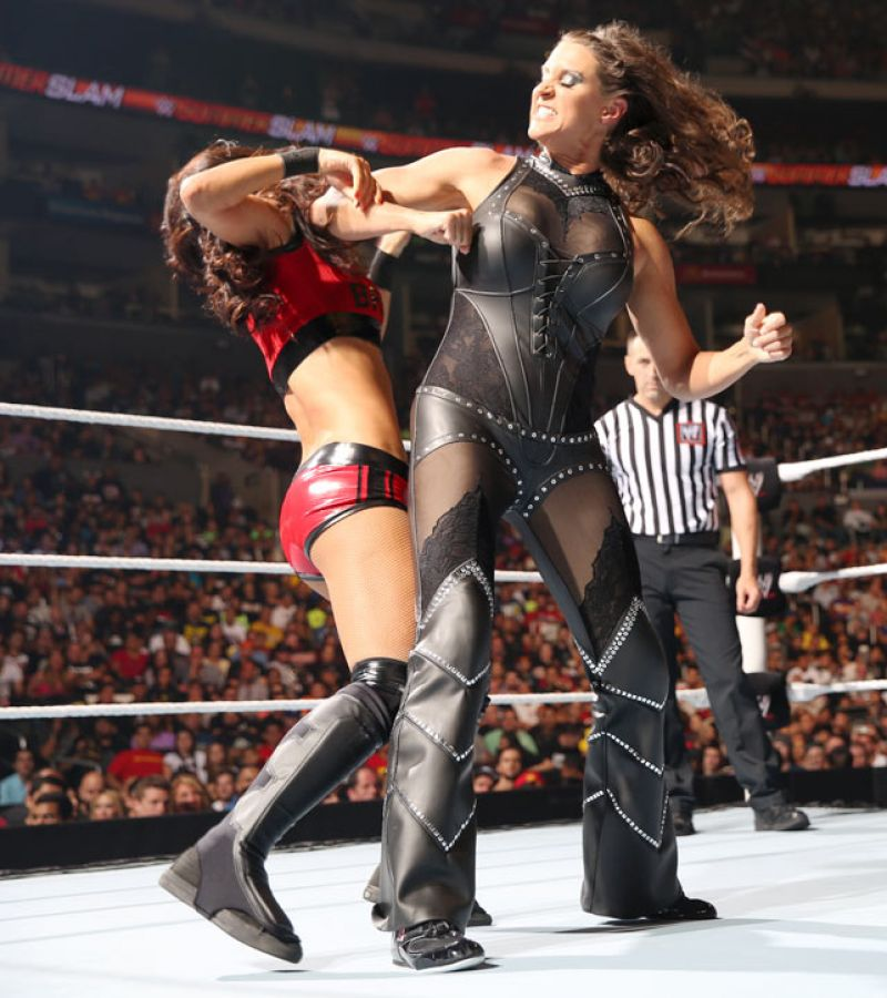 Stephanie McMahon in a Tight Leather Outfit - WWE SummerSlam in Los Angeles - August 2014