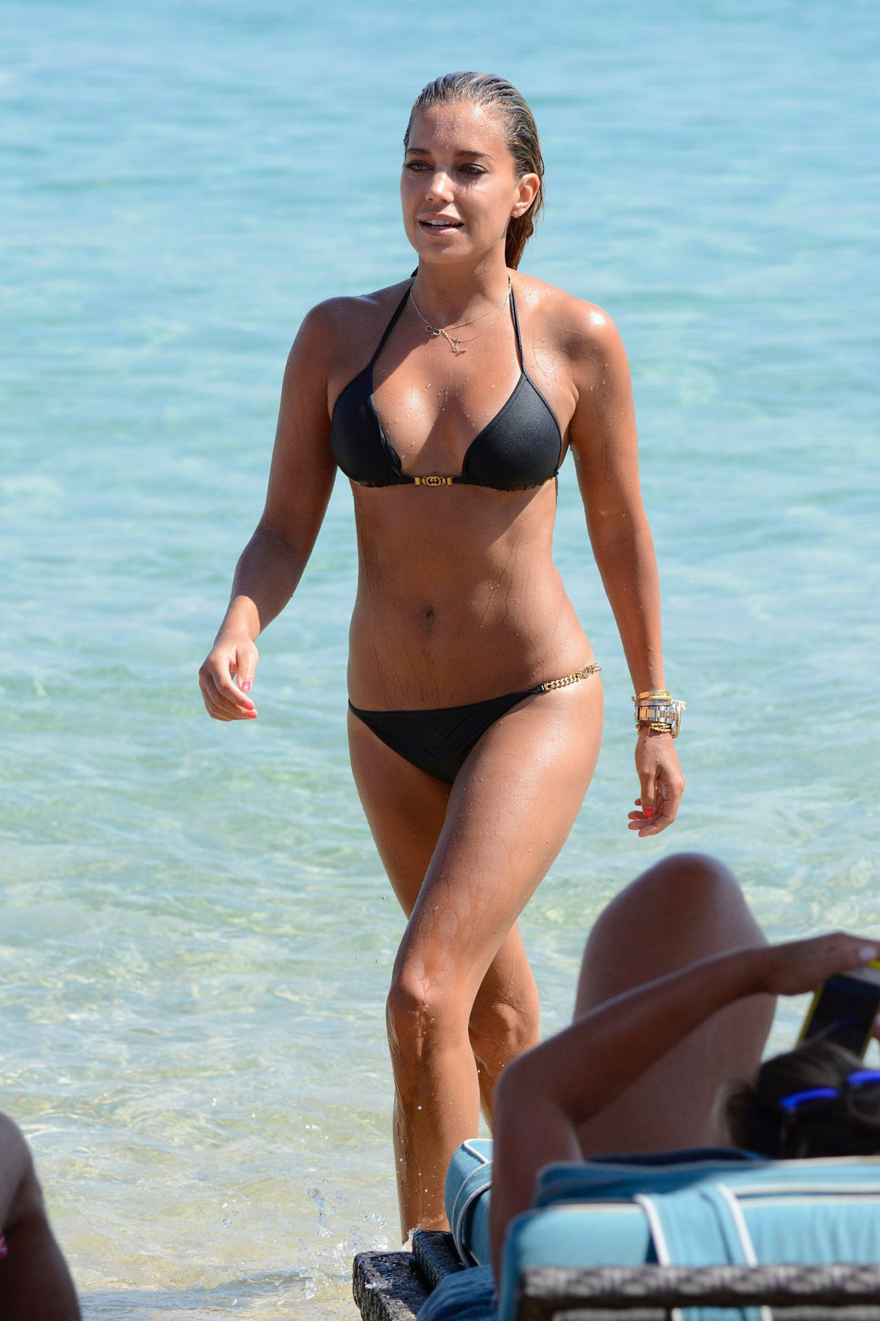 Sylvie Meis Hot In Black Bikini On The Beach In Mykonos -8872