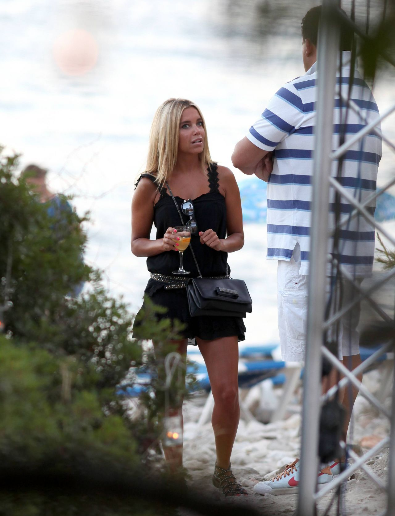 Sylvie Meis Hot In Mini Dress Beach In Ibiza Aug 2014