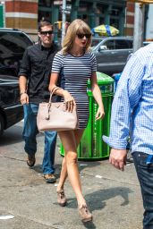 Taylor Swift in Stripes - Out in NYC, July 2014