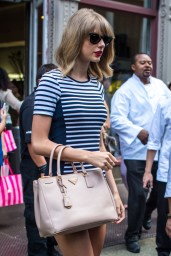 Taylor Swift in Stripes – Out in NYC, July 2014