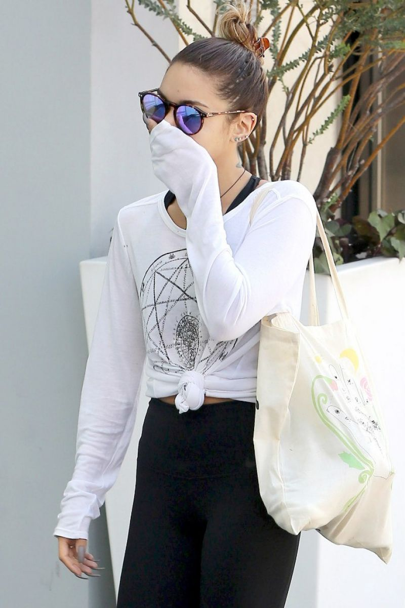 Vanessa Hudgens Style - Leaving Soul Cycle Fitness Club in West Hollywood - Aug. 2014