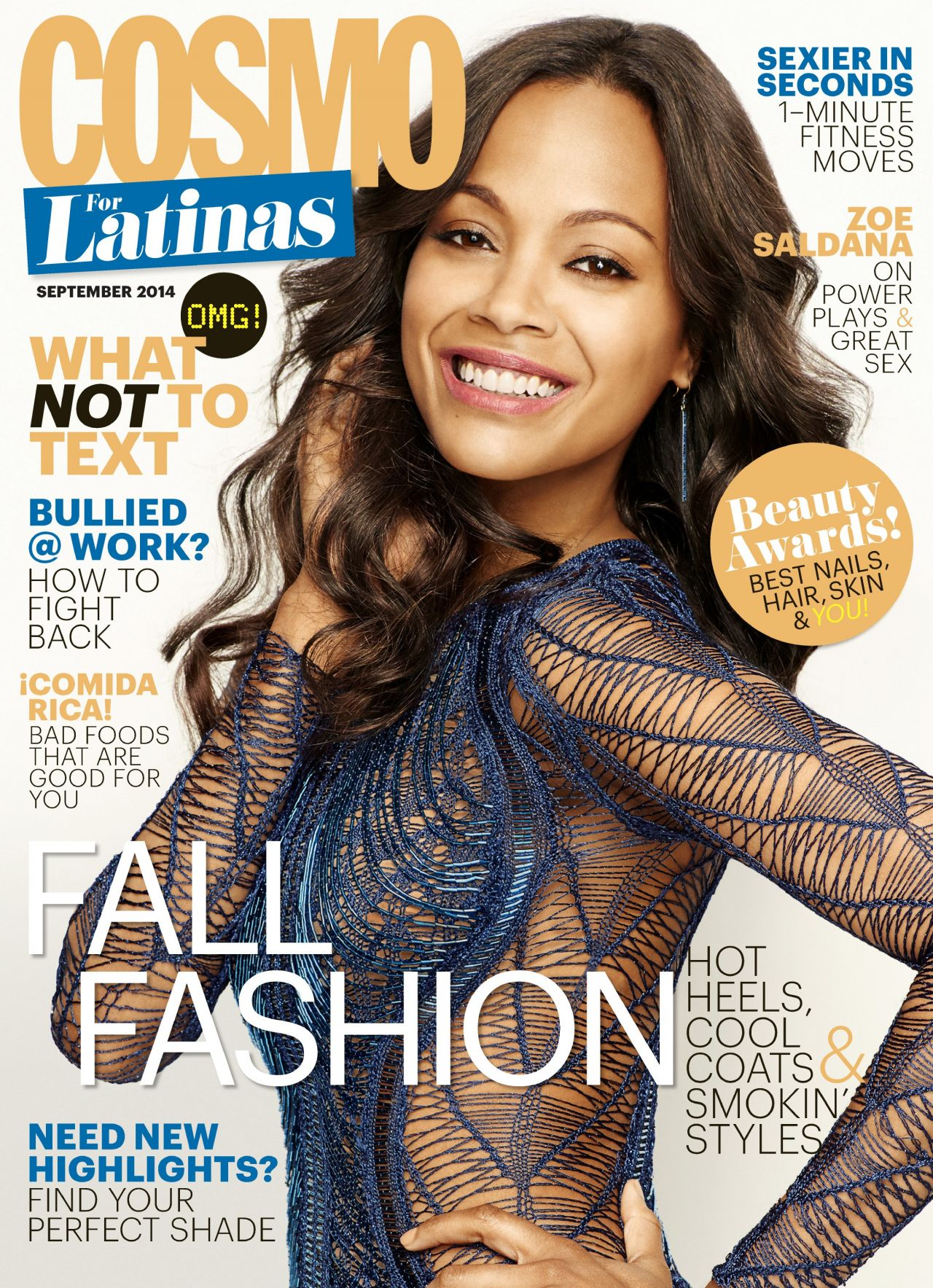 Zoe Saldana - Cosmopolitan Magazine for Latinas - September 2014 Cover