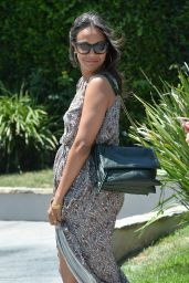 Zoe Saldana in Long Dress - Leaves a Private Party in Brentwood - August 2014