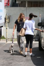 Zoe Saldana With Her Husband And Dog - Out in Los Angeles, August 2014