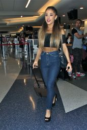 Ariana Grande Booty in Jeans - at LAX Airport in Los Angeles - September 2014