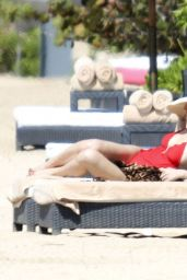 Ashlee Simpson in a Swimsuit on a Beach in Bali - Sep 2014