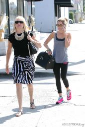 Ashley Tisdale in Leggings at Kings Road Cafe in Studio City - September 2014