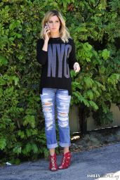Ashley Tisdale in Ripped Jeans - Outside of a Restaurant in Los Angeles, September 2014