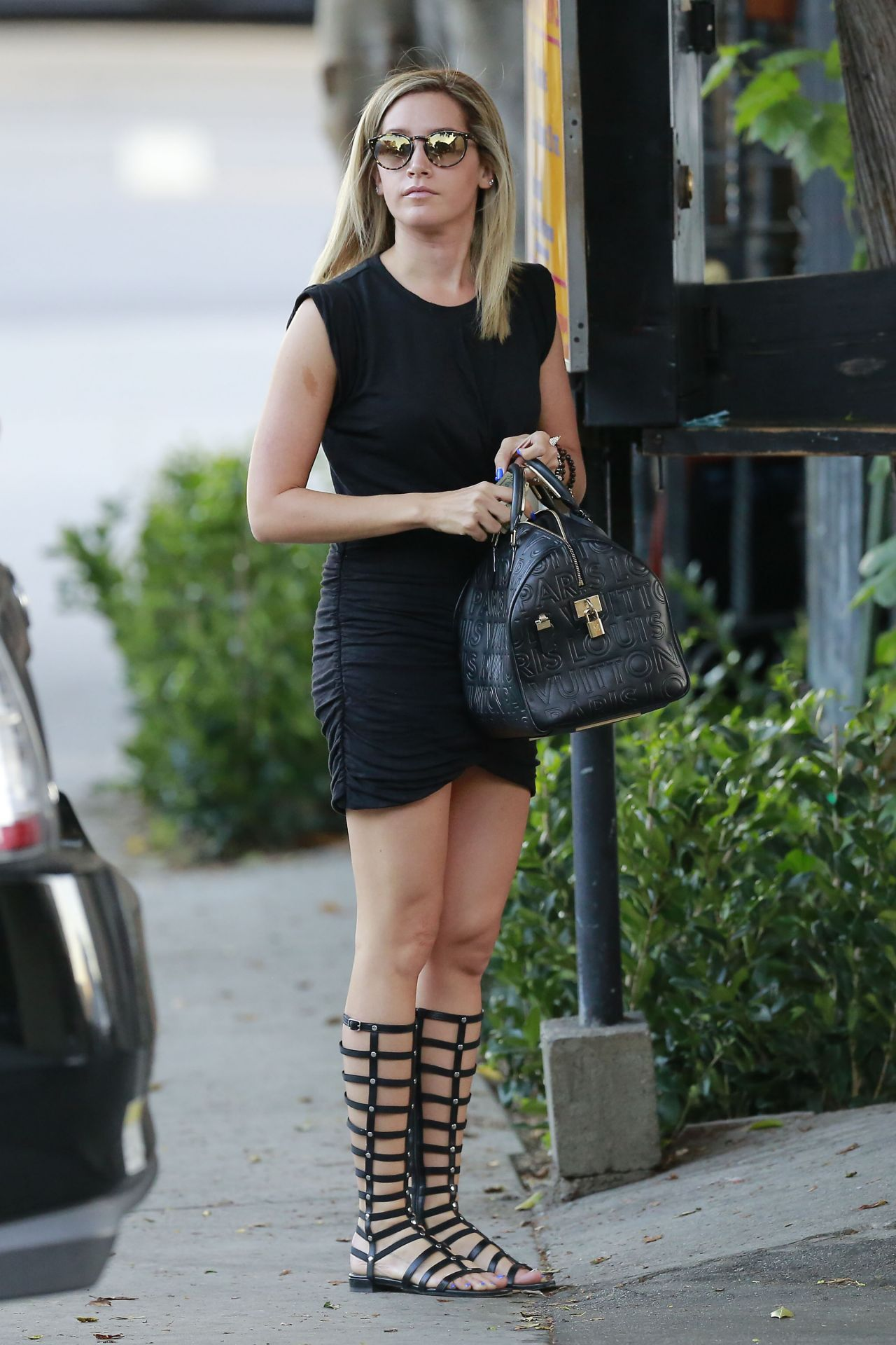 Ashley Tisdale Leggy in Gladiator-Style Sandals - Leaving Nine Zero One Salon in West Hollywood