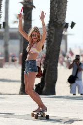 Camille Rowe in a Bikini on a Photoshoot in Santa Monica - September 2014