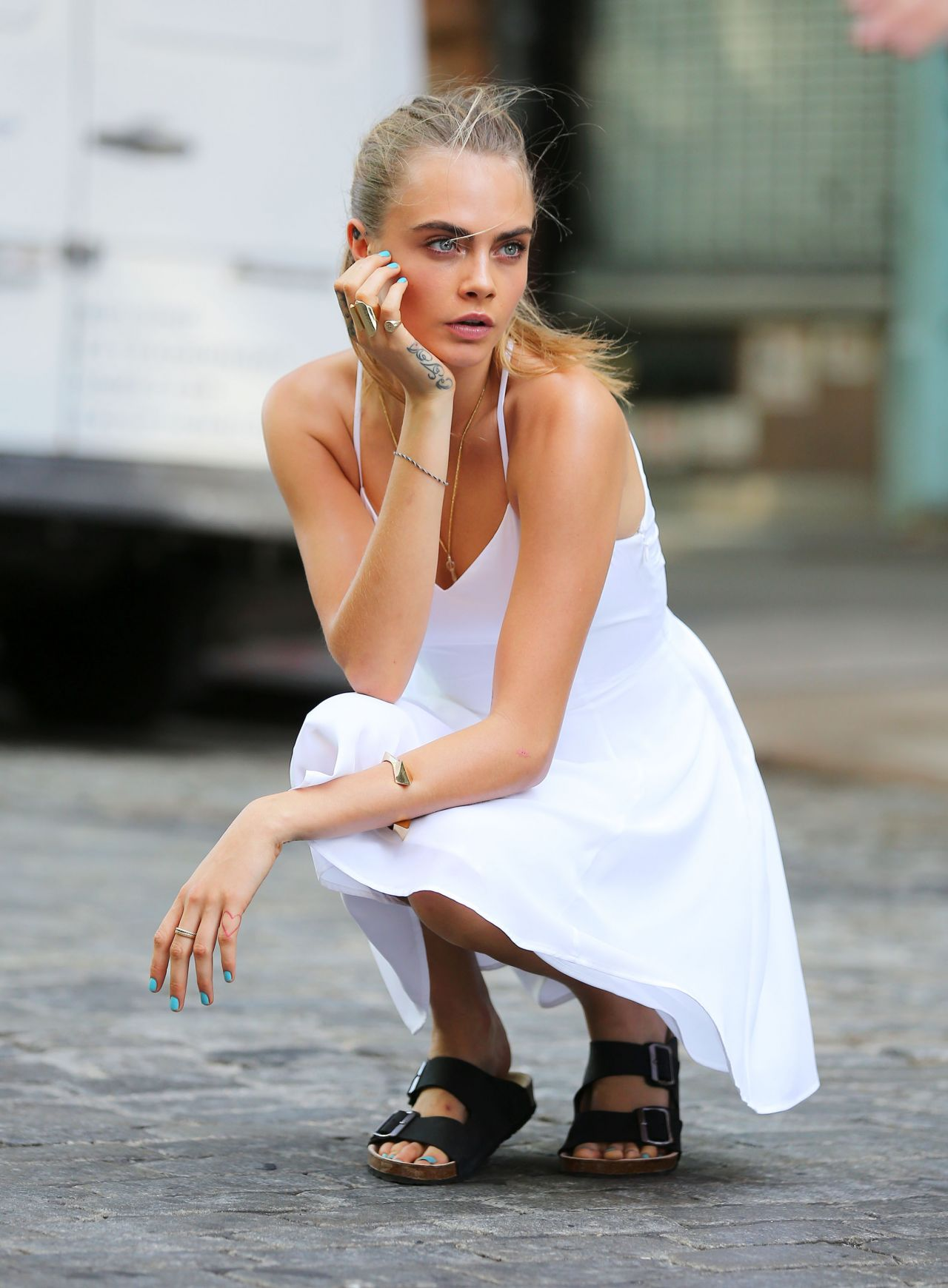 Cara Delevingne on Location for a Photoshoot in Noho, NYC - September 2014