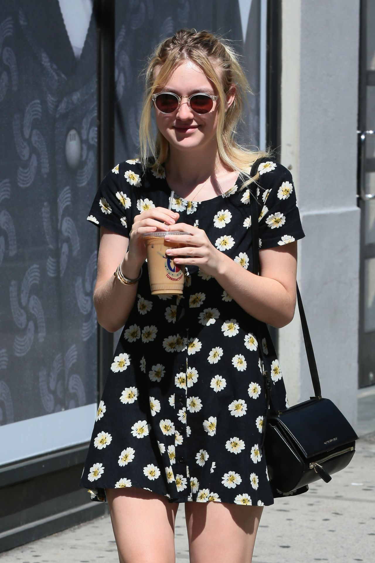Dakota Fanning in Mini Dress - Out in New York City - September 2014