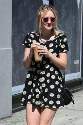 Dakota Fanning in Mini Dress - Out in New York City - September 2014