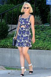 Dianna Agron in Mini Dress - Out in Los Angeles, September 2014
