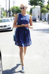 Dianna Agron Leggy in Mini Dress - Out in Los Angeles, September 2014