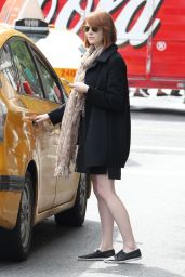 Emma Stone - Hailing a Taxi Cab in New York City - September 2014
