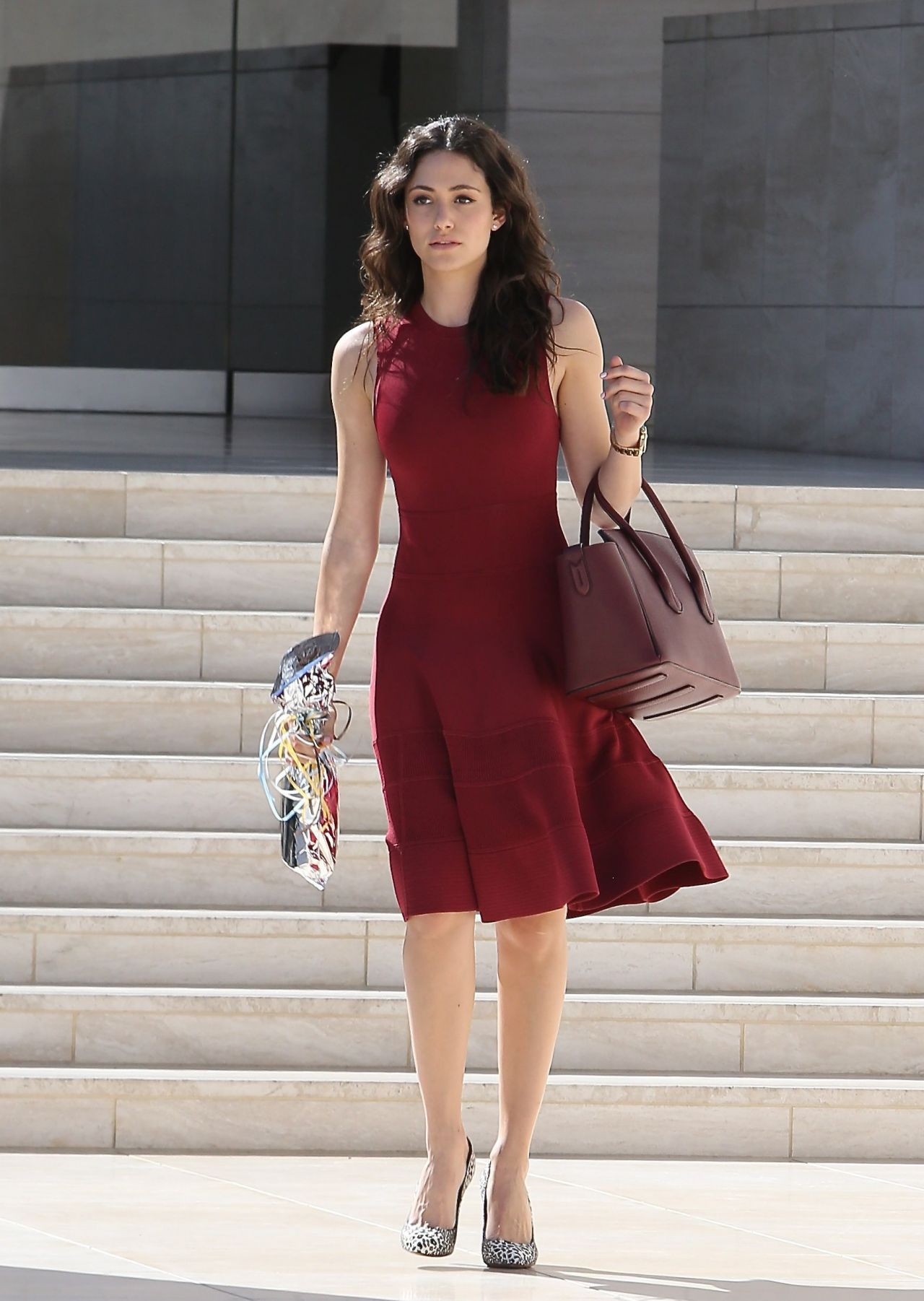 Emmy Rossum in Red Dress - Leaving a Birthday Party at Milk Studios in Hollywood