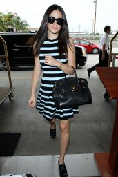 Emmy Rossum in Striped Dress at LAX Airport in Los Angeles - September 2014