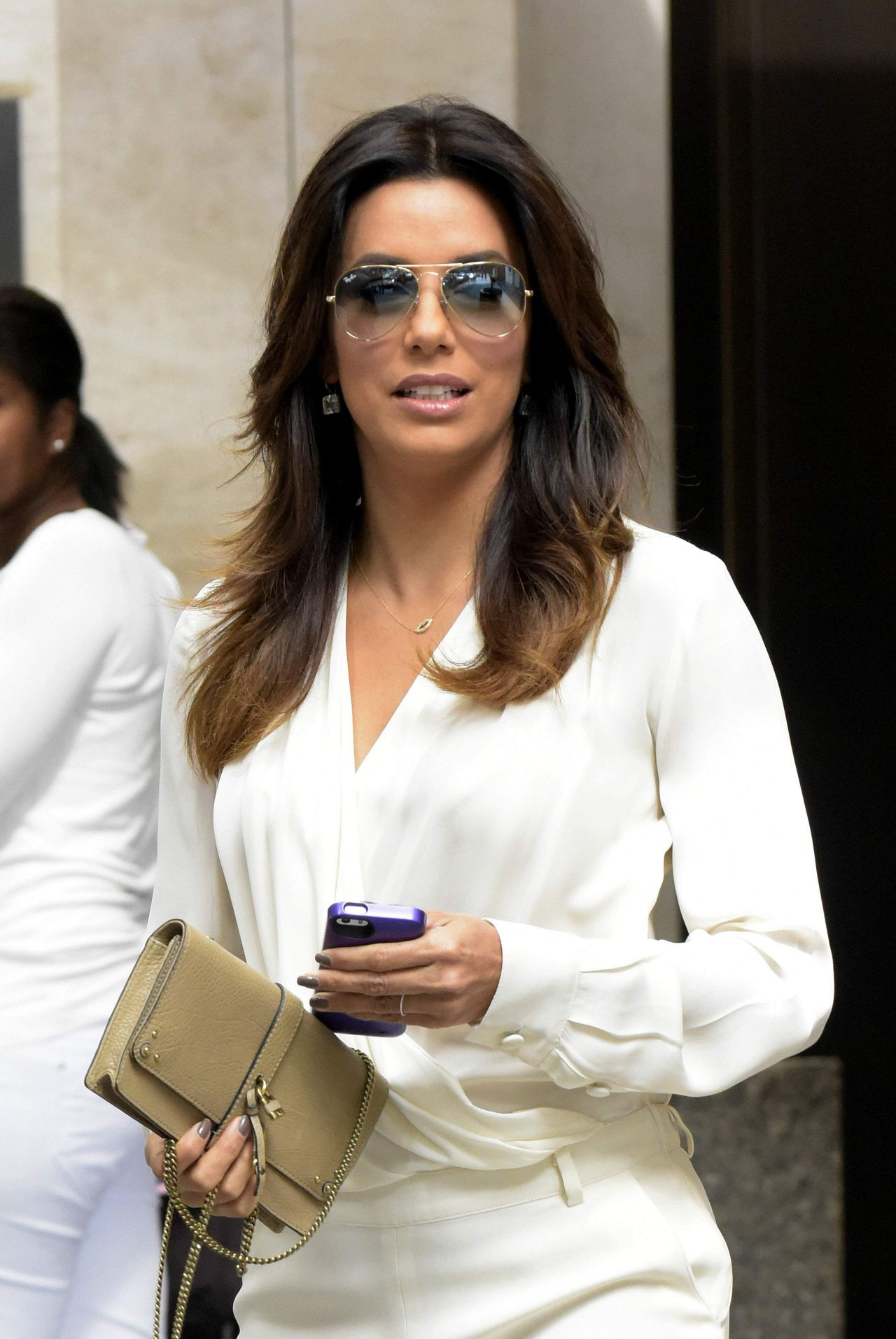 Eva Longoria Exiting the Four Seasons Hotel in New York City - September 2014
