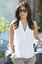 Eva Longoria Hair Style - Leaving Ken Paves Salon in West Hollywood - September 2014