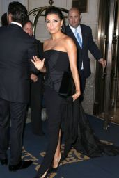 Eva Longoria in Black Dress - Leaving her hotel in New York City - September 2014