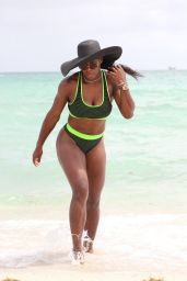 Eva Longoria & Serena Williams - Candids on the Beach in Miami - September 2014