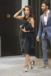 Eva Longoria Style - Exits the Four Seasons Hotel in New York City - Sep 2014