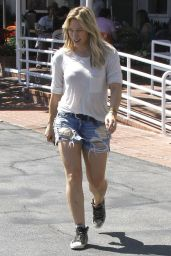 Hilary Duff in Jeans Shorts - Out in West Hollywood - August 2014