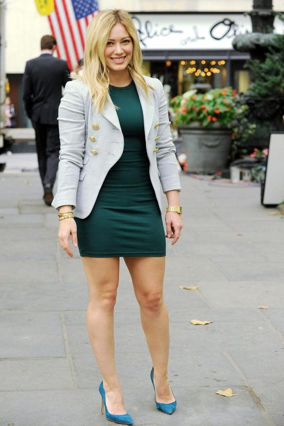 Hilary Duff in Mini Dress - 'Younger' TV Series Set Photos (September 2014)