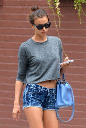 Irina Shayk Hot in Jeans Shorts - Out in the West Village in New York City - Sept. 2014
