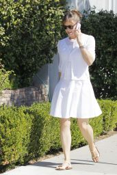 Jennifer Garner in White Dress - Out in Santa Monica - September 2014