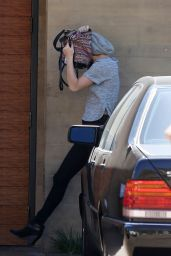 Jennifer Lawrence Hiding her Face From Photographers, Arriving at Nobu Resturant in Malibu - Sept. 2014