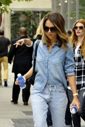 Jessica Alba in Jeans - Leaving a Hotel in Los Angeles - September 2014