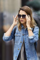 Jessica Alba Street Style - Out in Soho in New York City - September 2014