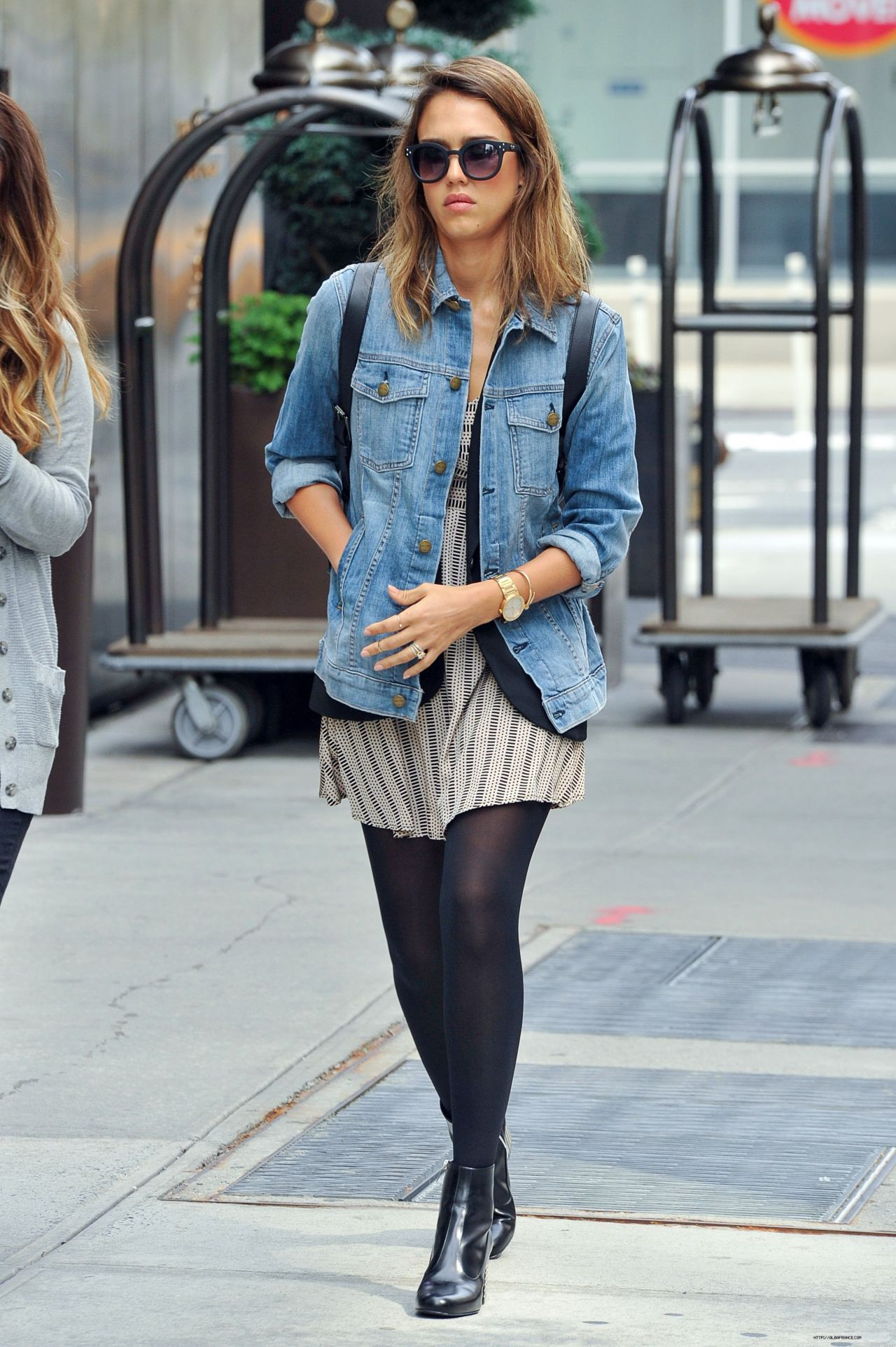 Jessica Alba Street Style Out In Soho In New York City