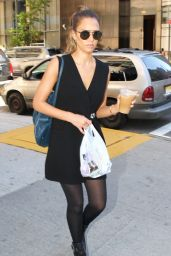 Jessica Alba Style - Outside Her Hotel in Downtown Manhattan - September 2014
