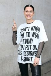 Jessie J in Printed T-Shirt - Leaving BBC Radio 1 in London - September 2014