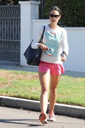 Jordana Brewster Displays Her Lean Legs in Tiny Running Shorts - Out in LA, Sept. 2014