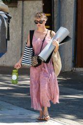 Kaley Cuoco in Summer Dress - Leaving Yoga Class in Sherman Oaks - September 2014