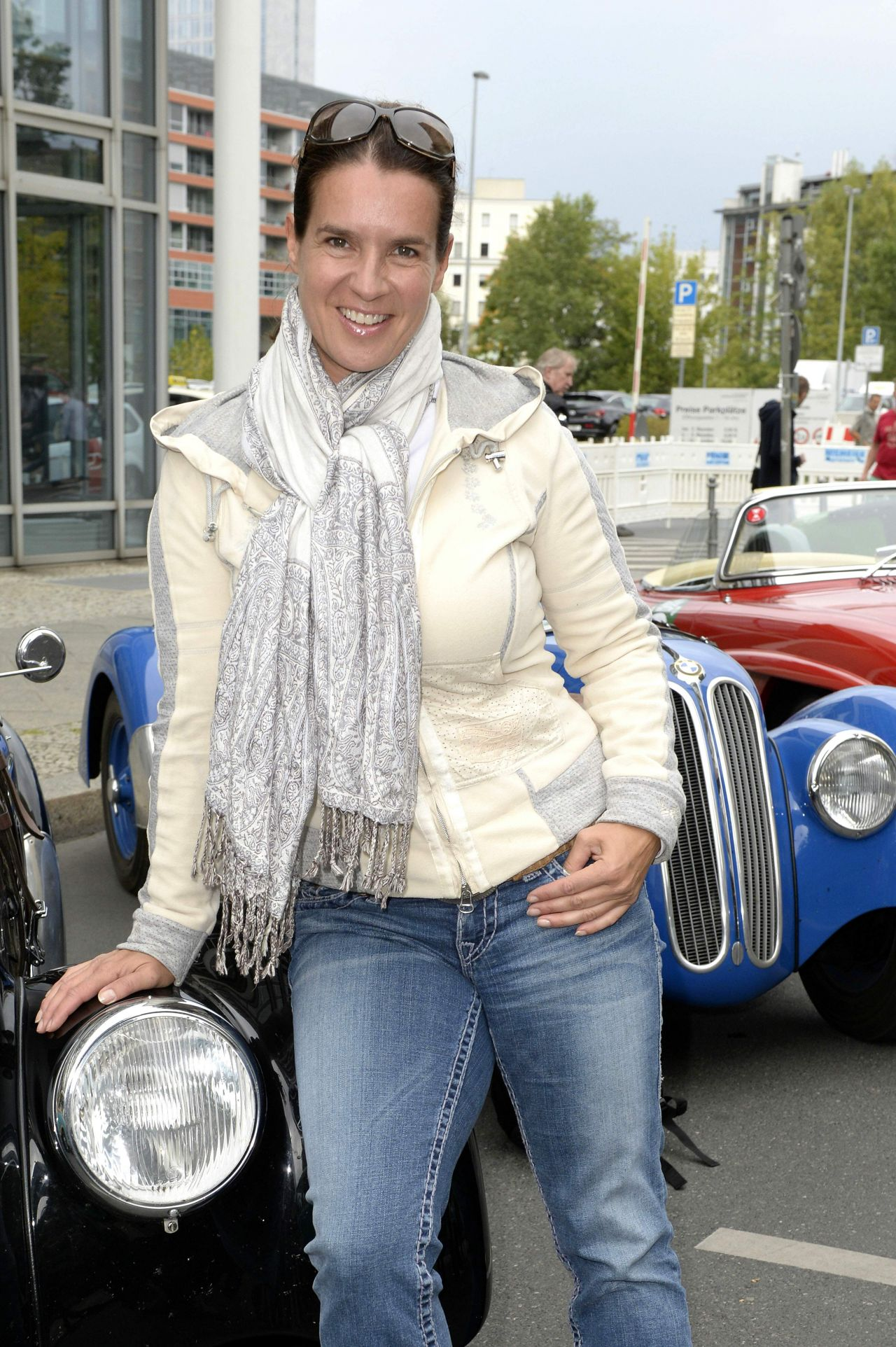 Katarina Witt At the Finish of the Classic Rally Hamburg-Berlin 2014