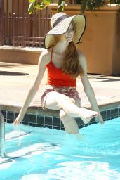 Katherine McNamara - Photoshoot by a Pool in Los Angeles - September 2014