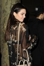 Kendall Jenner Night Out Style - in Paris, September 2014