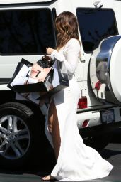 Khloe Kardashian in a White Dress - Shopping in Los Angeles, September 2014