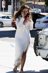 Khloe Kardashian in a White Dress - Shopping in Los Angeles, September 2014